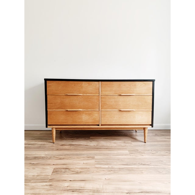 Mid-Century Modern Mid Century Modern Harmony House Black + Natural Wood Dresser For Sale - Image 3 of 11