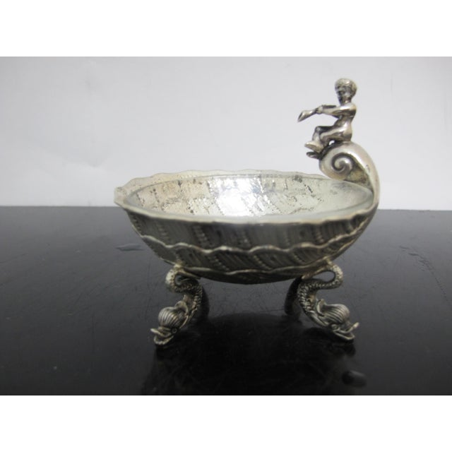 Silver Antique German 800 Silver Figural Horn Player Dolphin Foot Salt Cellar Bowl For Sale - Image 8 of 8