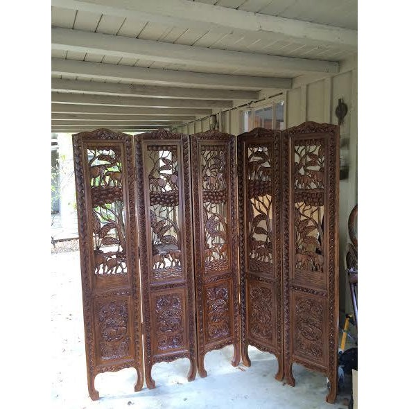 5 Panel Engraved Wood Screen From Indonesia - Image 2 of 6