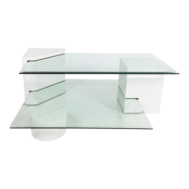1980s Post-Modern Geometric Multi-Tiered Coffee Table For Sale