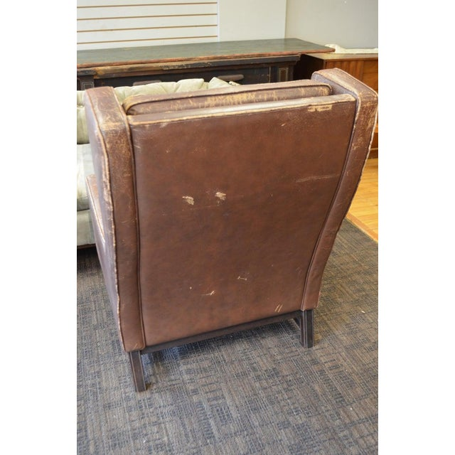 Club Chair of Worn Leather From Edwardian England, Wingback, Early 20th Century For Sale - Image 12 of 13
