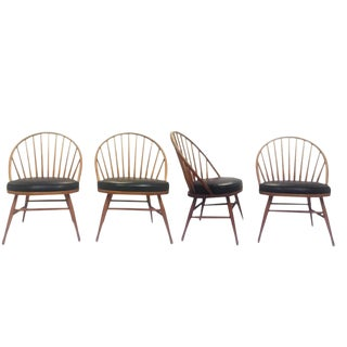 Mid Century Modern Windsor Chairs Heywood Wakefield Peacock Teak Chairs - Set of 4 For Sale