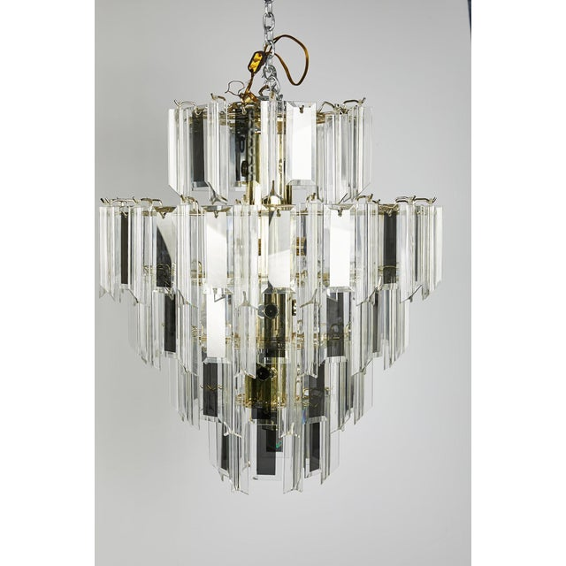 Vintage Italian Waterfall Chandelier With Lucite and Mirrored Prisms For Sale - Image 11 of 13