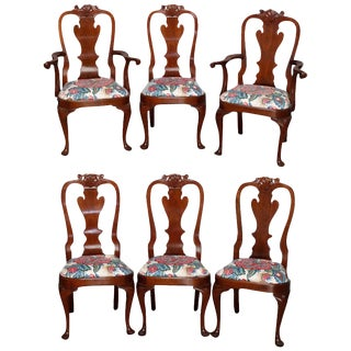 1980s Vintage Stickley Queen Anne Carved Mahogany Dining Chairs- Set of 6 For Sale