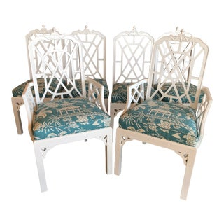 Vintage Palm Beach Chinoiserie Chippendale White Lacquered Upholstered Pagoda Dining Chairs - Set of 6 For Sale