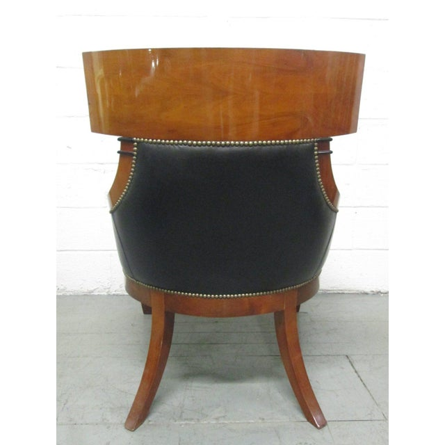 1960s Leather Biedermeier Style Lounge Chair For Sale - Image 5 of 9