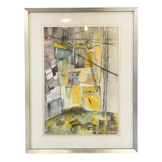 "Watercolor and Ink Abstract, ""Stone Quarry on a Sunday"" by Rita Holtzman Schwartz, 1969 For Sale"