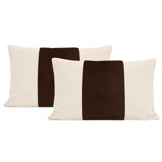 """12""""x 18"""" Chocolate Velvet Panel & Linen Lumbar Pillows - a Pair For Sale"""