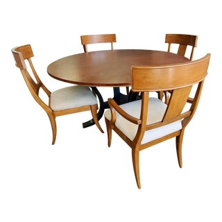 Henredon Furniture Acquisitions Paris Yvon Round Dining Table & Chair Set - 5 Pieces For Sale