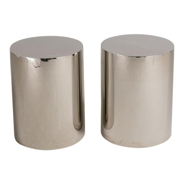 Pair of Polished Steel Pedestals, Table Bases 1970s For Sale