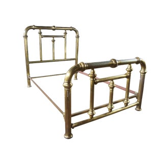 19th Century Victorian Brass Cannonball Full Double Bed Frame For Sale