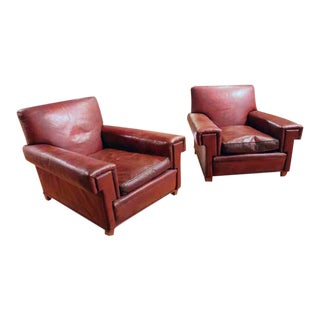 Pair of French Red Leather Chairs For Sale