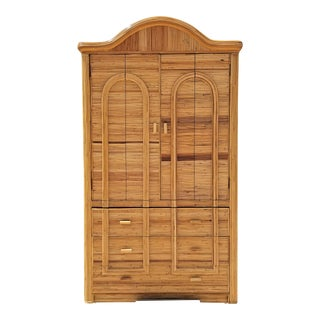 Gabriella Crespi Style Split Bamboo Custom Made Dry Bar Cabinet For Sale