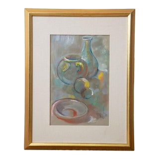 1970s Still Life Charcoal, Chalk and Watercolor Painting, Framed For Sale
