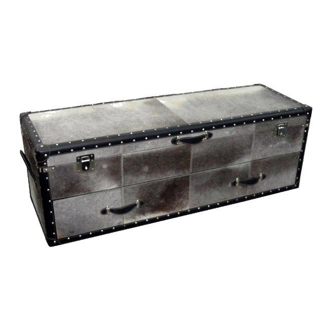 Black and White Hair Leather Bedside Trunk Box - Image 2 of 4
