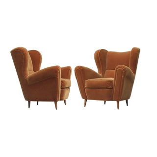 Sculptural Italian Wing Chairs in Mohair- a Pair For Sale