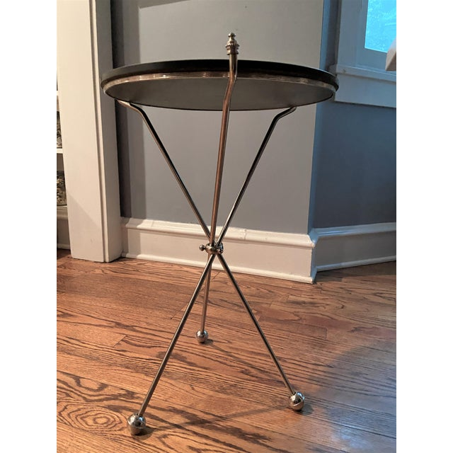 Vintage Maison Bagues Nickel and Marble Campaign Style Tripod Side Table For Sale In Chicago - Image 6 of 9