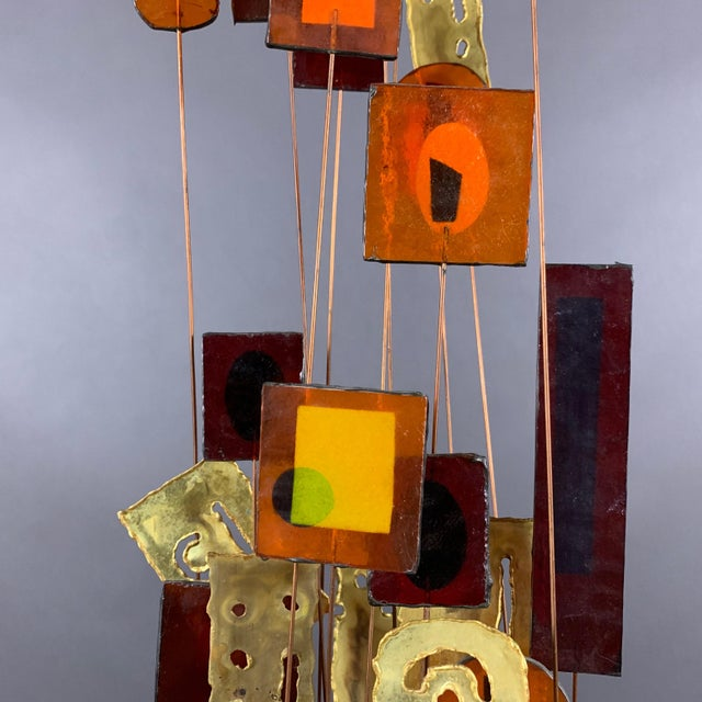"""Curtis Jere 1950s C. Jere Fused Glass & Metal Kinetic 53"""" Sculpture For Sale - Image 4 of 11"""