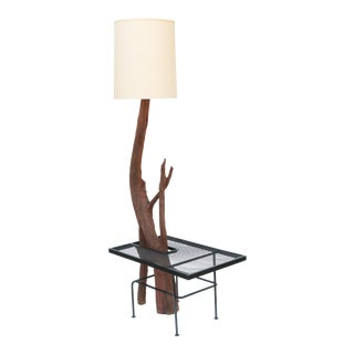 Monumental Driftwood Floor Lamp With Wrought Iron Table For Sale