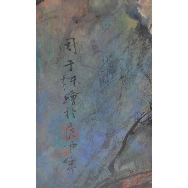 Asian Figural Abstract Pastel Painting For Sale - Image 5 of 7