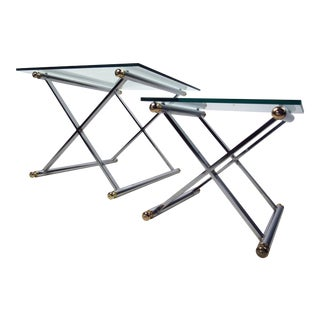 Pair of Vintage Modern Chrome and Brass End Tables For Sale