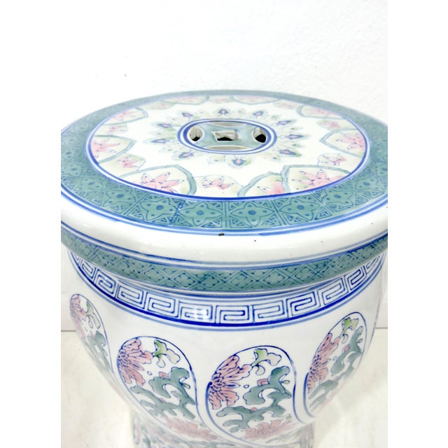 Vintage Boho Chic Ceramic Chinese Blue, White and Pink Drum Stool or Garden Seat For Sale - Image 4 of 6