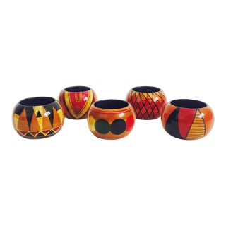 Vintage Colorful Wood Napkin Rings - Set of 5