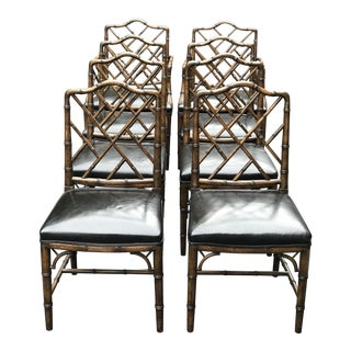 Vintage Beacon Hill Faux Bamboo Chairs With Leather Seats - Set of 8