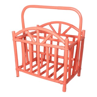 1970s Vintage Painted Coral Bamboo Magazine Rack For Sale