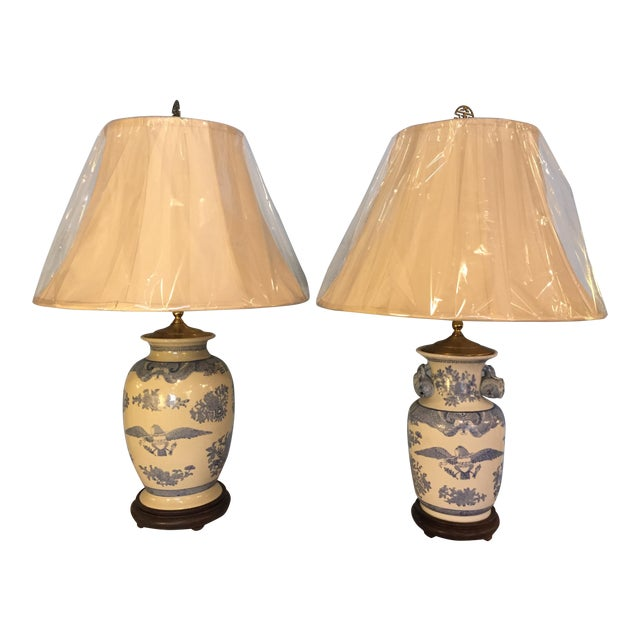 Companionable Chinese Export Style Porcelain Lamps - a Pair - Image 1 of 9