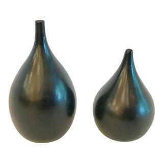 Mid Century Modern Black Wooden Salt & Pepper Shakers