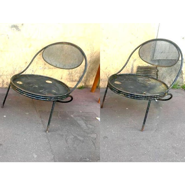 "Mathieu Matégot, Pair of Chairs Model ""Copacabana"" in Genuine Vintage Condition For Sale - Image 6 of 6"