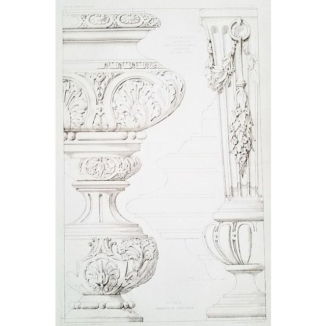 French Architectural Lithograph-Furniture Design 1880s For Sale - Image 4 of 4
