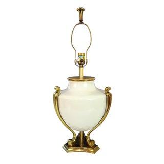 Vintage Chapman Brass and Porcelain Urn Lamp For Sale