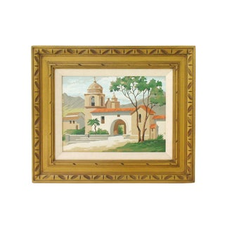 Framed California Mission Painting For Sale