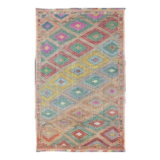 Colorful Turkish Embroidered Kilim Vintage Rug in Diamond Design & Vivid Colors For Sale