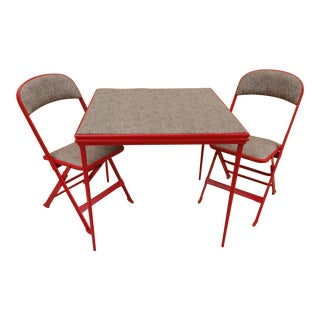 Vintage Folding Card Table and Chair Set -- Newly Reupholstered For Sale