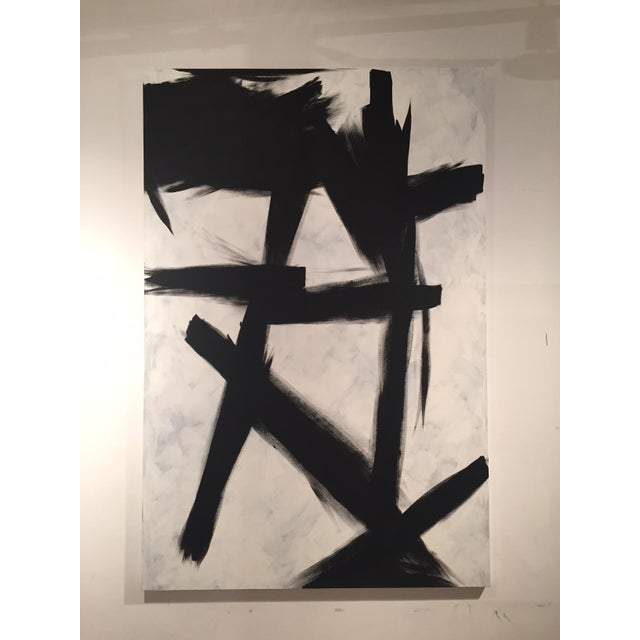 Black & White Abstract Painting - Image 2 of 3