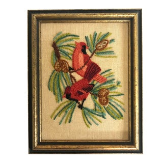Vintage Crewel Embroidery - Cardinals and Pine Boughs