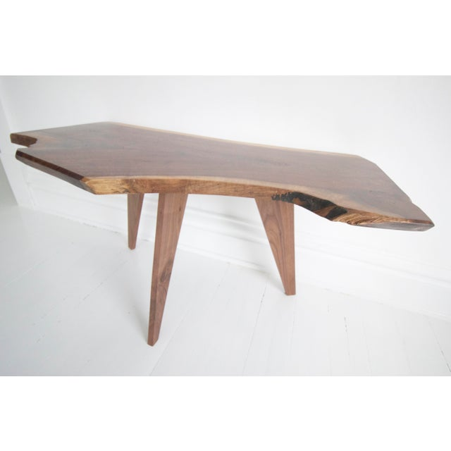Solid Walnut Slab Coffee Table With Tapered Walnut Legs For Sale - Image 6 of 8