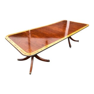 Georgian Style Double Pedestal Banded Mahogany Dining Table With Two Leaves