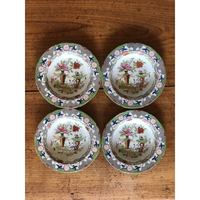 Antique Floral Detail Ironstone Bowls - Set of Four For Sale - Image 9 of 10