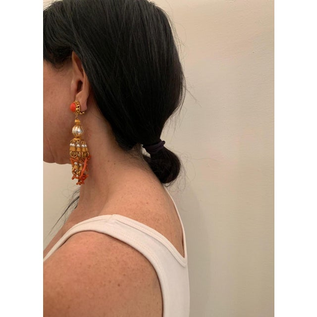 Coral Vintage Pearl and Coral Chandelier Statement Earrings For Sale - Image 7 of 13