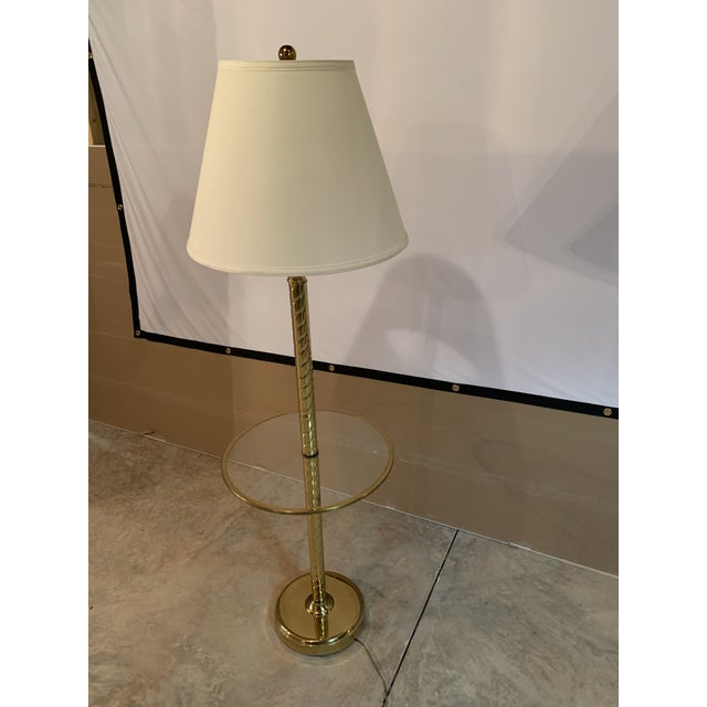 Art Deco Vintage Hollywood Regency Twisted Brass and Glass Floor Lamp and Table With White Linen Shade For Sale - Image 3 of 11