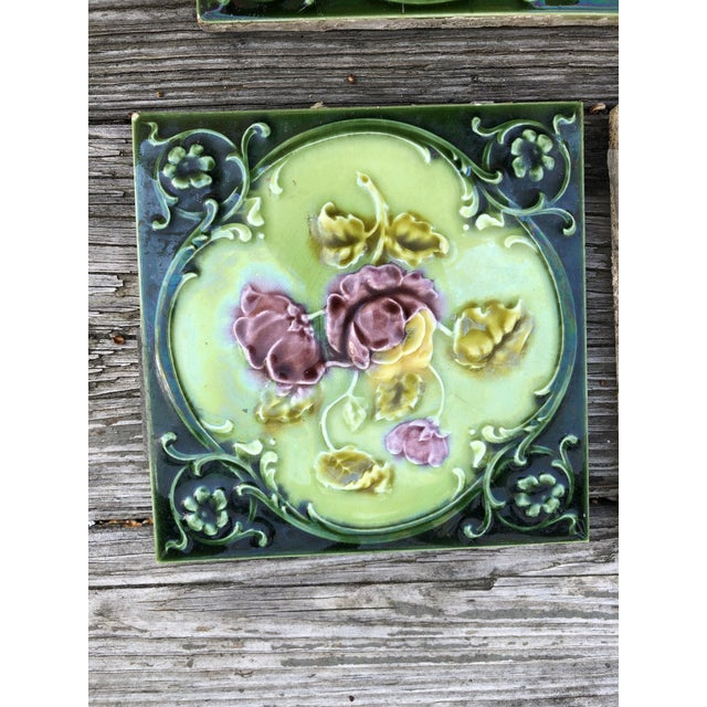Antique English Art Nouveau/Victorian Era Raised Relief Ceramic Tiles Floral Pattern - Set of 6 For Sale In Providence - Image 6 of 13