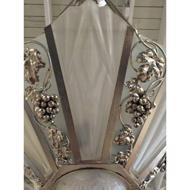 Degue Signed French Art Deco Geometric Chandelier - Image 6 of 9