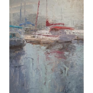 "Beckham Oil Painting ""Red Sail"", Contemporary Blue Harbor Scene With Boats For Sale"