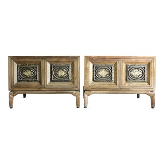 Silas Seandel Style Brutalist Nightstand Cabinets / Side Tables, a Pair