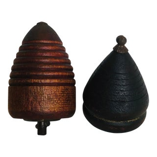 1950s Mid-Century Modern American Craftsman Turned Wood Spinning Top Toy - a Pair For Sale