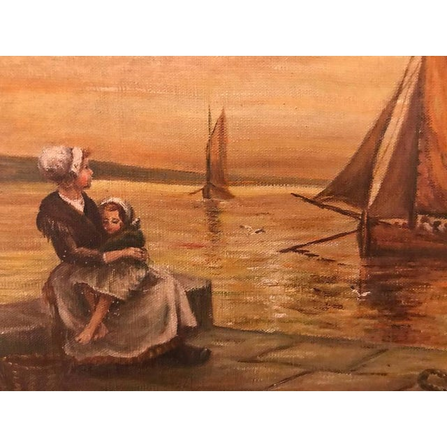 Canvas Woman & Child Sitting at the Pier Oil on Canvas For Sale - Image 7 of 11